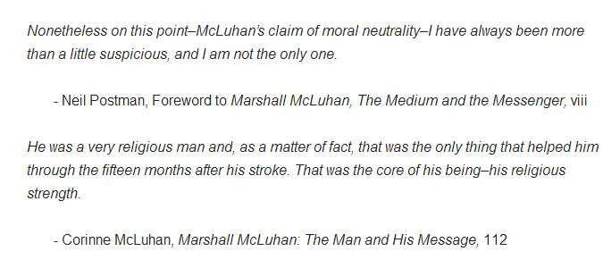 The Medium is the Messiah: McLuhan's Religion and its Relationship